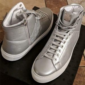MCM Silver Embossed Logo High Top Leather Sneakers